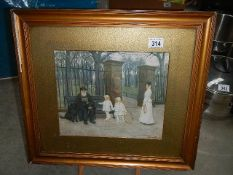 A framed and glazed study of blind man with children outside a park signed Stewart Marshall.