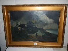 A gilt framed Victorian oil on canvas harbour scene.
