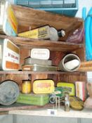 A set of vintage pine shelving with a collection of good collectables.
