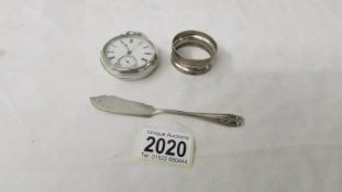 A silver cased pocket watch, a/f, a silver jam knife and a silver napkin ring.