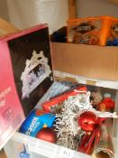 A box of Christmas decorations.