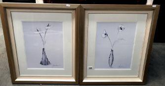 2 Liz Jardine framed and glazed prints,