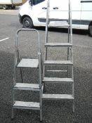 Two aluminium step ladders.