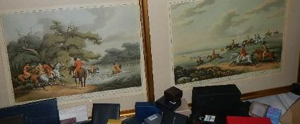 A pair of framed and glazed mid 20th century hunting prints By J Gadby.