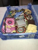 A box of costume jewellery including necklaces & beads etc.