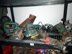 A mixed lot of working Bosch 'PS' range of power tools including Jigsaw, sanders, angle grinder,