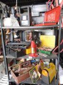3 shelves of good workshop tools, sockets,