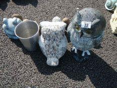 A quantity of garden owl figures etc.