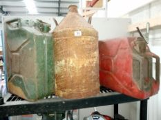 2 x 1960's Jerry cans and a vintage two handled can.