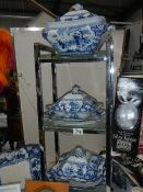 A quantity of Booth's Ming pattern blue and white tureens and matching meat platter,