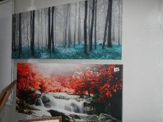 Two large prints on canvas.