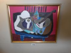Framed French school abstract acrylic on board table top still life with guitar