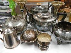 A mixed lot of EPNS teapots etc.