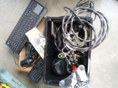 A box of good quality leads, Bluetooth key boards,