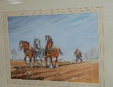 A good framed and glazed watercolour depicting a ploughing scene with horses.