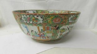 A large Chinese Late 18th/early 19th century famille rose bowl, 40 cm diameter.