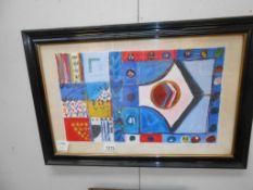 A framed and glazed St Ives school contemporary acrylic on card inscribed 'Babbury TG IV' 30cm x