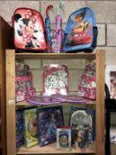 A quantity of new children's bags including Minnie Mouse, Cars & Shopkins, a quantity of clocks,