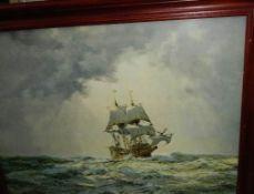 A framed and glazed Montague Dawson print of The Mayflower. (original price verso £169).