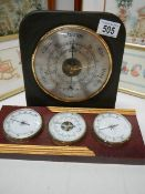 A slate barometer and another barometer.