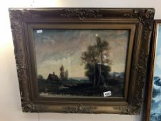 A gilt framed and glazed early oil painting of a rural scene 52cm x 64cm
