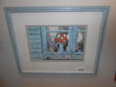 Mary Tozer 20th century British school watercolour on paper signed 'windowsill with vases of