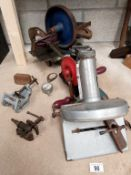 A mixed lot of old workshop items including hand tune plane etc.