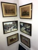 6 hunting related prints, 2 early examples, 4 framed and glazed, 43.5cm x 36cm, 46cm x 34cm, 29.