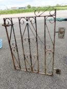 A wrought iron gate (82cm wide x 118cm high)