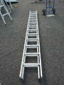 An aluminium double ladder.