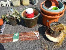 A mixed lot of ceramic and plastic garden pots etc.