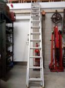 A 24 step double extending aluminium ladder.