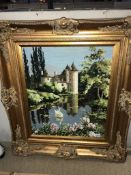 A fabulous gilt framed wool work tapestry of a French castle reflected in a lake by Philippa