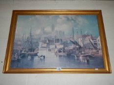 An early gilt framed and glazed print of Lincoln Cathedral.