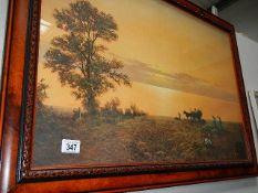 A large framed and glazed farming print.