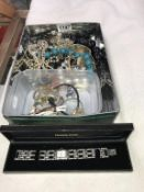 A box of costume jewellery and a quantity of ladies watches