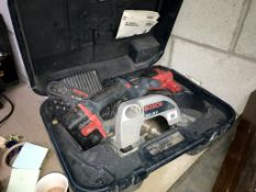 A Bosch AL2450DV 24v circular saw with 2 batteries/charger, tested and working.