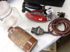 A good Swan brand iron with Bacolite handle , plug etc,