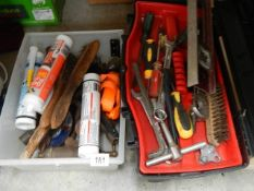 Two boxes of assorted tools, fillers etc.