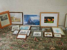 15 framed pictures.