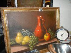 A framed still life oil on canvas.
