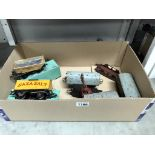 A box of Hornby wagons & rolling stock including boxed Saxa salt etc.