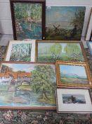 7 good framed oil paintings.