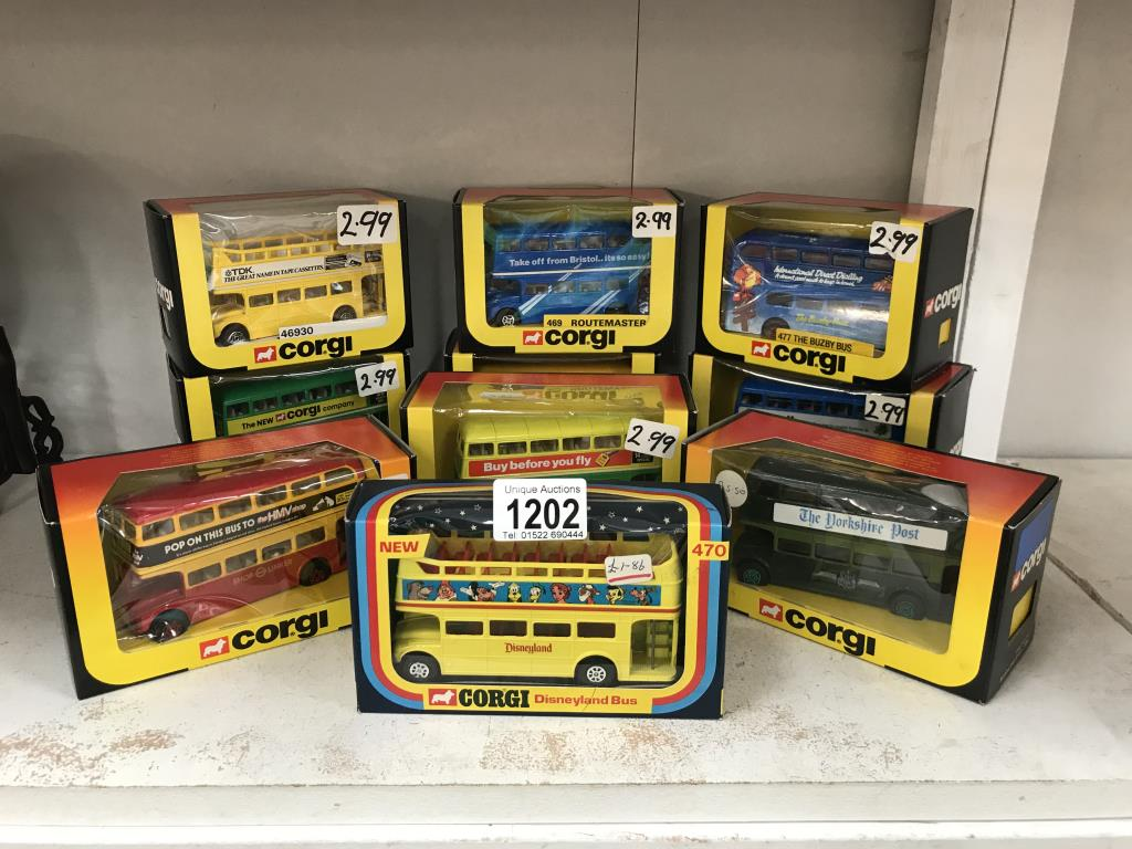 10 x 1980's Corgi Routemaster buses various model numbers & livery's