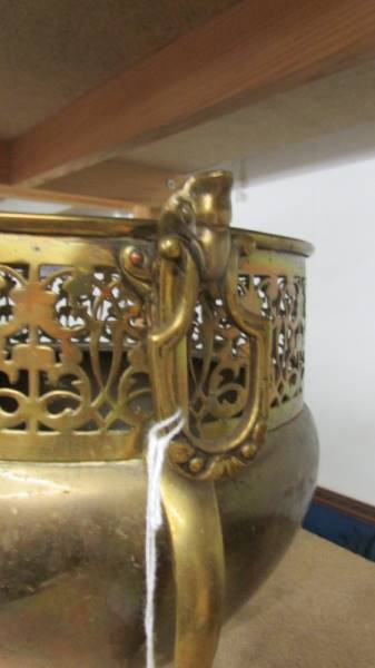 An Edwardian art nouveau brass three footed jardeniere. - Image 2 of 4