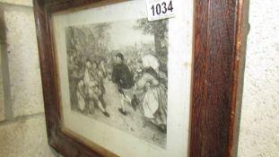 A framed and glazed engraving after Piter Bruighel entitled 'Dutch Fair'.