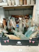 2 full boxes of clay pots & bottles