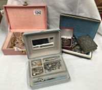 3 jewellery boxes containing assorted costume jewellery