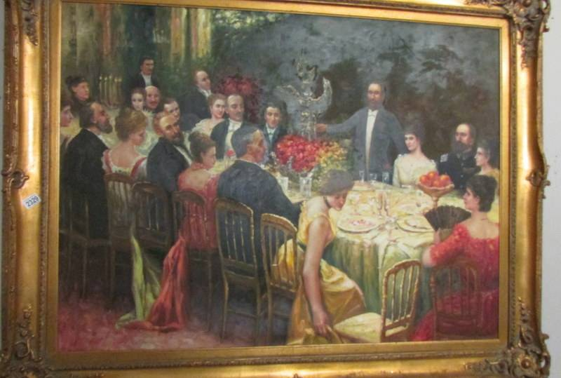 A superb gilt framed oil on canvas depicting a Russian dinner party, - Image 3 of 12