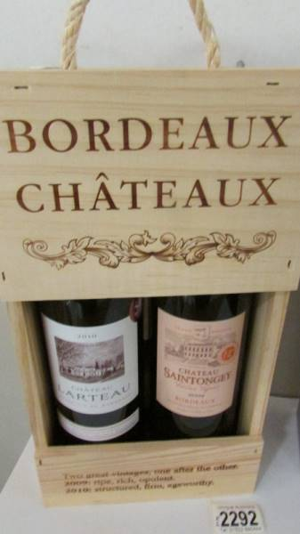A boxed Macallan fine oak triple cash matured 10 year old whisky and 2 bottles of Chateau Bordeau. - Image 2 of 3